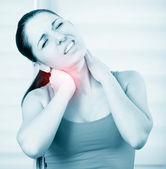 Woman pain in neck — Stock Photo