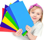 Beautiful girl holding a paper — Stock Photo