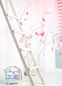 Interior with pink hearts — Stock fotografie