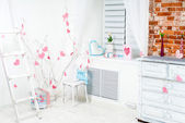 Interior with pink hearts — Stock Photo