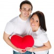 Couple with a red heart — Stock Photo #4732296