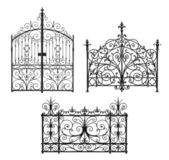 Colección de negras puertas forjadas con enrejado decorativo — Foto de Stock