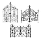 Collection of black forged gates with decorative lattice — Stock Photo