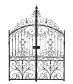 Black forged gate with decorative lattice — Stock Photo