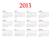 Calendar 2013. Template — Stock Photo