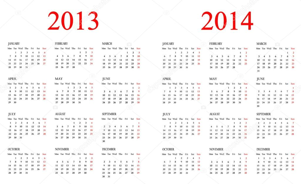 Set of Calendars Template for 2013-2014 years for design.
