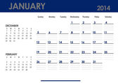 Monthly calendar for 2014 year - January. — Stock Photo