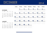 Monthly calendar for 2014 year - December. — Stock Photo