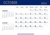 Monthly calendar for 2014 year - October. — Stock Photo