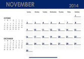 Monthly calendar for 2014 year - November. — Stock Photo