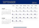 Monthly calendar for 2014 year - September. — Stock Photo