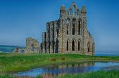 Whitby Abbey with water in front and blue sky — Φωτογραφία Αρχείου