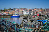 Whitby North Yorkshire looking through lobster pots — Stock Photo