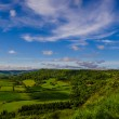 Green rolling hills and blue sky — Stock Photo