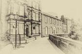 Street in Berwick-upon Tweed including the Custom House. Vintage effect. — Stock fotografie