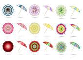 Andere kleur paraplu's vector illustratie — Stockvector