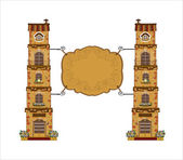 Ancient street signboard of house or bar, vector illustration — Stock Vector