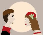 Man kiss woman retro vintage vector — Stock Vector
