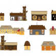 Stock Vector: Original houses, icons, signs, vector illustrations