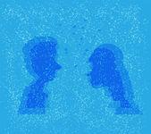 Man and woman under Christmas mistletoe. Vector file illustration — Stock Vector