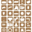 Set of different icons. brown. vector — Stock Vector