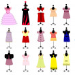 Set of colorful children's dresses for girls. vector — Stock Vector