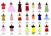 Set of colorful children's dresses for girls. vector — Stock Vector