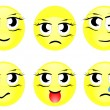 Set of characters of yellow emoticons vector — Stock Vector