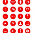 Set of red  buttons for web design on white background vector — Stock Vector