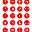 Set of red  buttons for web design on white background vector — Stock Vector #22301453