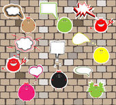 Cute monsters on a brick wall. vector — Stock Vector