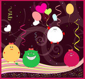 Funny greeting card with little monsters. happy birthday vector — Stock Vector