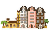 Set of old houses, isolated on white background. Vector — Stock Vector