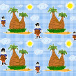 Vector de stock : Seamless pirate island illustration kids background pattern vector