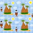 Seamless pirate island illustration kids background pattern vector — Vecteur #24321765