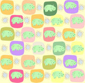 Children seamless pattern with hippopotamus, vector illustration — Stock Vector