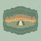 Vintage card with old castle vector illustration — Stock Vector