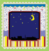 Night in the city background vector — Stock Vector
