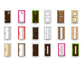 Set of doors on isolated background. Vector design — Stock Vector