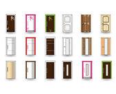 Set of doors on isolated background. Vector design — Vettoriale Stock