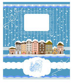 Christmas/New Year illustration with houses. Vector background , invitations, congratulations — Stockvektor
