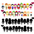 Illustration of collection of simple kids — Stock Vector