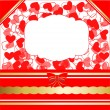 Valentines day greeting card with hearts and lacy ribbon — Stock Vector #39375559