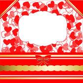 Walentynki kartkę z życzeniami z serca i koronkowy wstążka — Wektor stockowy
