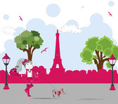 Girl with cute little dog in paris. vector — Stock Vector
