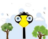 Cartoon black bird — Stock Vector