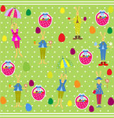 Cute Easter seamless with bunnies and eggs — Vector de stock