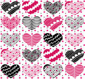 Beautiful seamless vector pattern with hearts — Cтоковый вектор