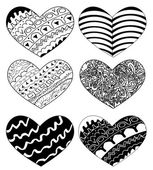 Vector hearts set for wedding and valentine design — Stock Vector