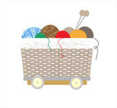 Thread balls of yarn with spokes basket — Stockvector